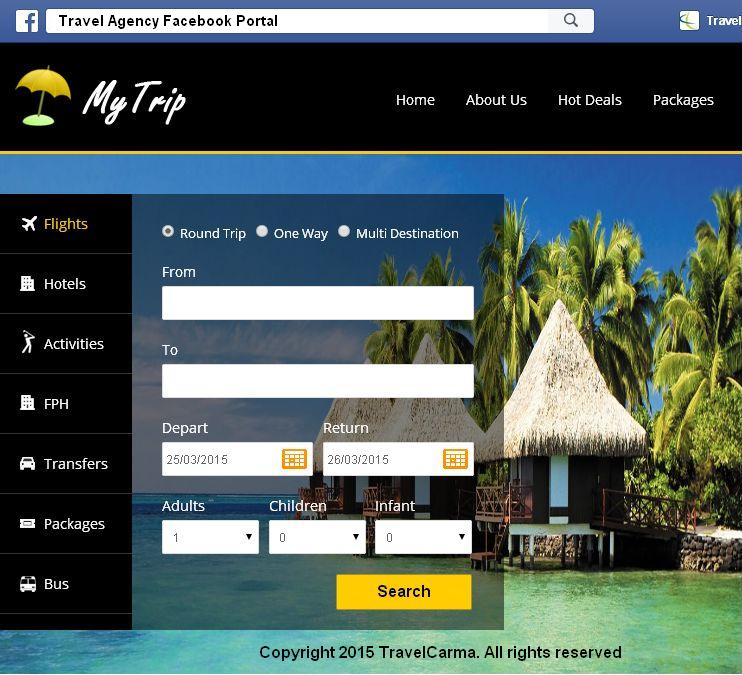 TravelCarma Facebook booking portal