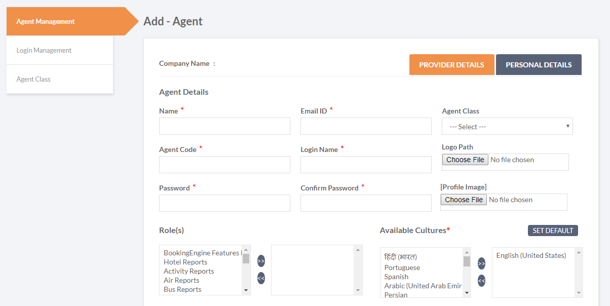 Corporate booking tool - b2b agent management