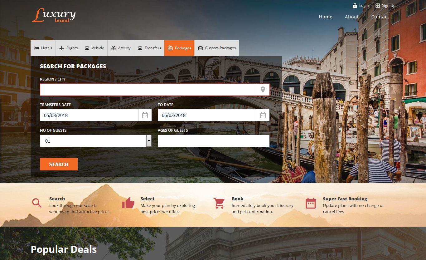 TravelCarma package booking engine