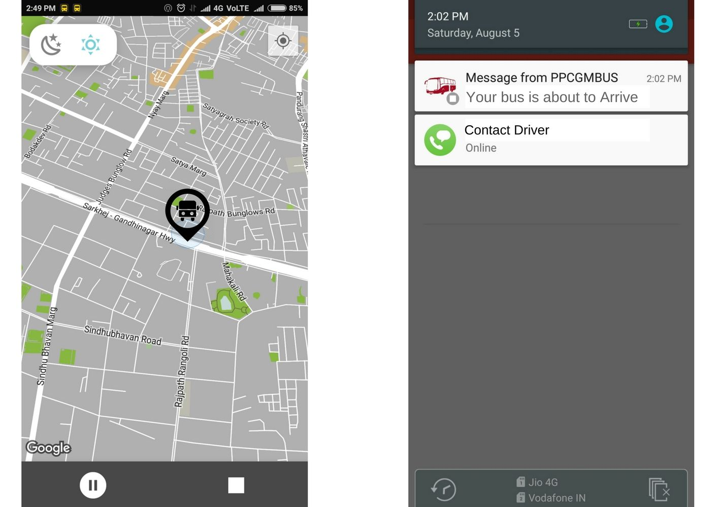 TravelCarma Bus App_Location Tracking and Alerts