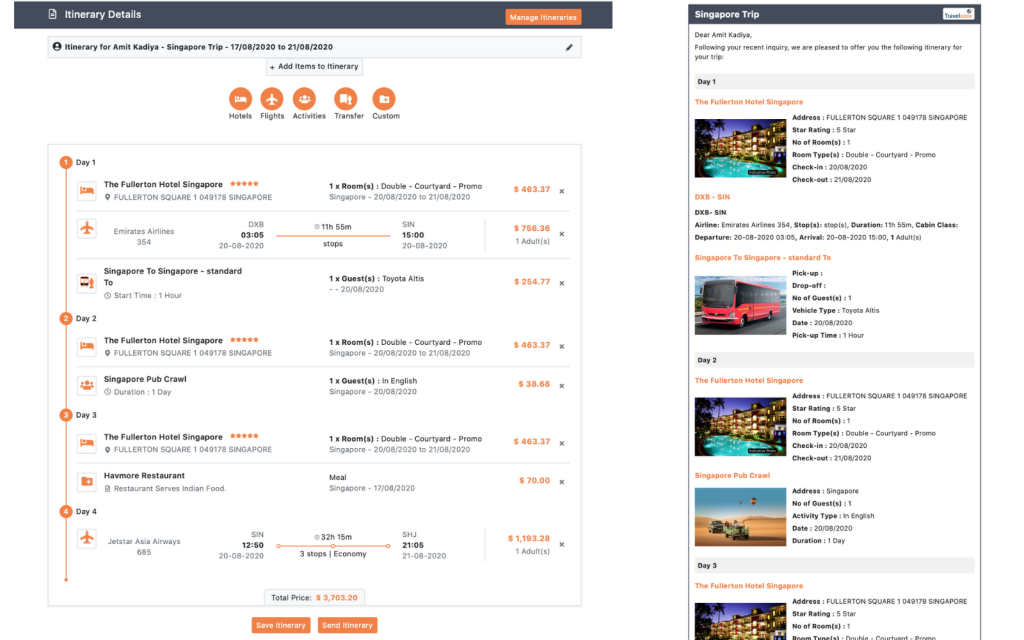 TravelCarma Itinerary Builder